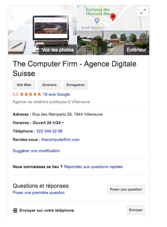 Google My Business exemple The computer firm